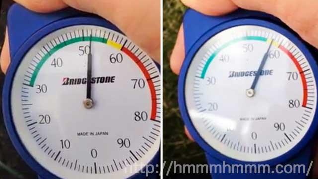 ゴム硬度計の測定値