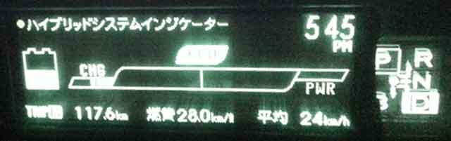 ハイブリッドシステムインジケーターがチャージを示しているところ(30プリウス)