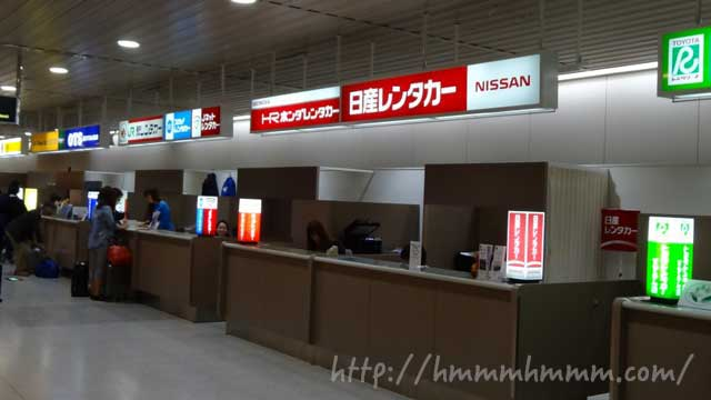新千歳空港のレンタカー受付カウンター