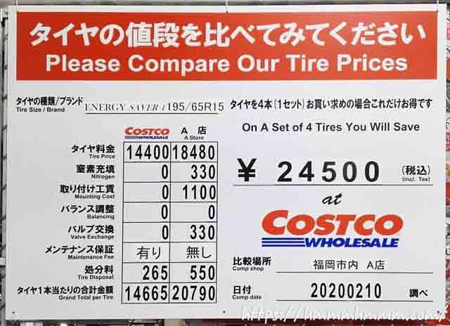 2020年2月-コストコのタイヤと他社の価格比較表