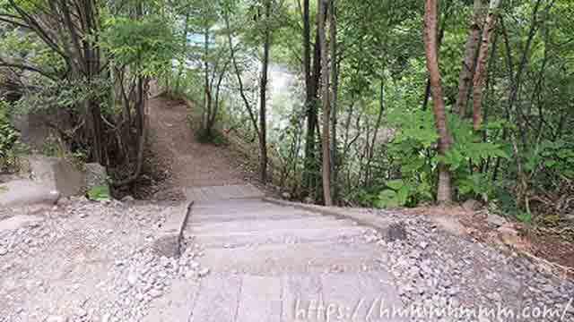 美瑛の青い池にある階段(上から)