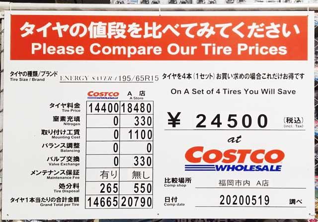 2020年5月-コストコのタイヤと他社の価格比較表
