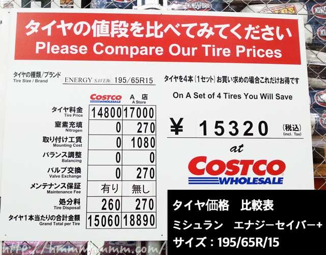 コストコタイヤセンターの他社との価格比較表