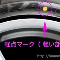 タイヤの軽点マーク