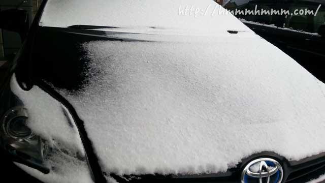 プリウスに積もった雪