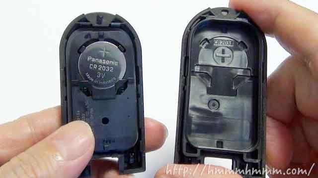 ダイハツ製スマートキーの電池交換-カバーを開けたところ