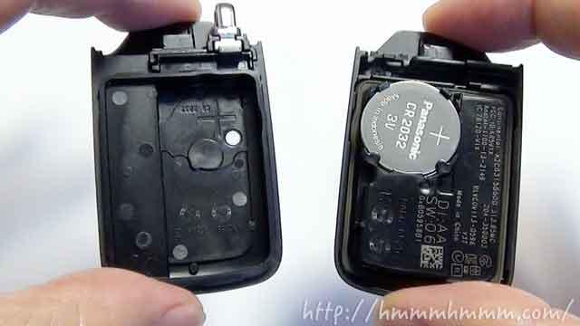 ホンダ製スマートキーの電池交換-開けたところ