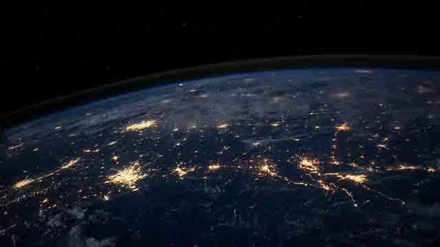 宇宙から見た地球上の光