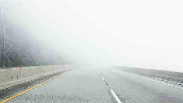 霧がかかった道