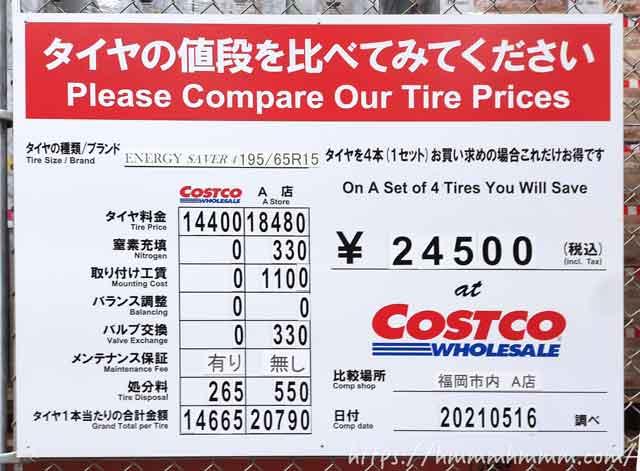 コストコに展示されている「他店とのタイヤ価格比較表」の看板(2021年5月)