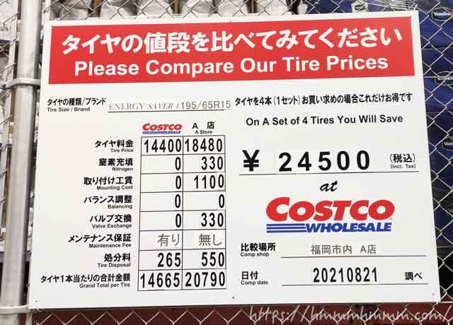 コストコに掲示してある他店とのタイヤ価格比較表(2021年8月)